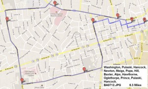 map of the August 3rd 2012 Group Ride
