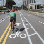 One of the coolest stretches--a center lane 2-way protected bike lane.  Even more protection than the one in DC!